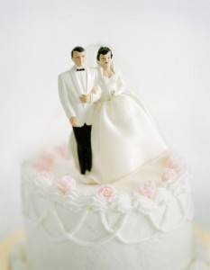 Bride and groom wedding cake decoration, top